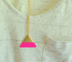 gold triangle necklace - hot pink color block - geometric - gold chain. $18.00, via Etsy.