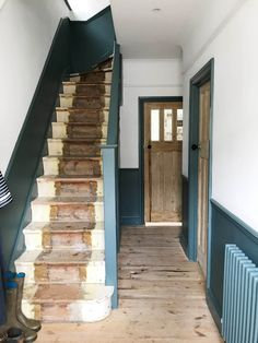 Our unfinished hallway and need for storage – Apartment Apothecary Entrance Hall Decor, Hallway Ideas Entrance Narrow, Front Hallway, Entryway, House Entrance, Inchyra Blue Farrow, Blue Hallway, Modern Hallway, Hallway Colours