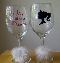 "cute glass vinyl ""wine like a princess"""