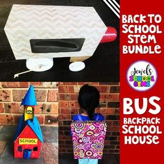 Back to School STEM Activities and Challenges for Kids in the Elementary Classroom by Jewel's School Gems | Start your first day or week of school right with these fun Back to School STEM engineering design challenges. Challenge your students to design and build a School Bus, a Backpack, and a Schoolhouse with peers. Children will also develop their problem solving, critical thinking, collaboration, and communication skills with these tasks. #backtoschoolstemactivities