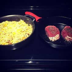 #HappyNewYear Butternut squash risotto and filet in the #castironskillet. What a great start. #athensga