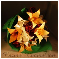 Gorgeous bouquet of Origami Lilies, Tulips & Roses Origami Lily, Origami Flowers, Lily Bouquet, Flower Bouquets, Birthday Gifts, Happy Birthday, Tulips, Christmas Crafts, Roses