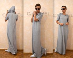 Long dress suitable for autumn and winter. The dress is with short-sleeved, a hood and internal pockets. The fabric is of low elasticity. HEIGHT OF MODEL: 168 cm. / 5′ 6″ Size S If you have different measurements please inform us. You can send us your preferred length of dress. All