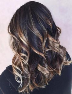 Golden Brown Balayage Caramel Black Hairstyles for Winter 2016 - 2017 Red Ombre Hair, Hair Color Balayage, Brown Balayage, Black Ombre, Ombre Brown, Color Black, Medium Hair Styles, Curly Hair Styles, Blonde Hair With Highlights