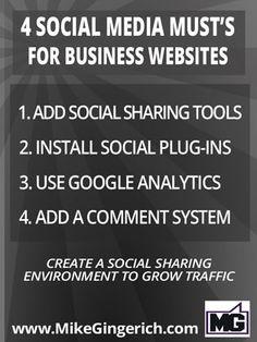 4 important social media tips for business websites.