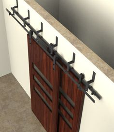 The double track bypass barn door hardware system includes 2 hanger sets (4 hangers total). Suitable for applications with two doors on two lengths of track.