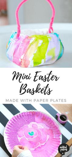 Mini Easter Baskets - A Beautiful Easter Craft Made with Paper Plates!Mini Easter baskets are easier to make than you might think! Here are simple instructions for turning a paper plate into an adorable handmade Easter Baskets For Toddlers, Boys Easter Basket, Easter Crafts For Kids, Easter Decor, Homemade Easter Baskets, Easter Baskets To Make, Paper Plate Basket, Paper Plates, Easter Basket Template