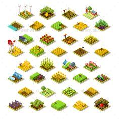 Isometric Building Farm 3D Icon Collection Vector Illustration - Vectors