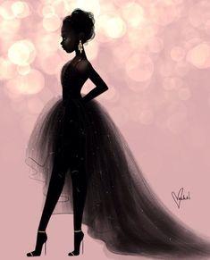 Super Ideas For African American Black Art Inspiration Art Black Love, Black Girl Art, My Black Is Beautiful, Art Girl, Black Girls Drawing, Black Girl Magic, Pretty Black Girls, Beautiful Gowns, Pink Black