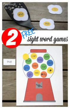 Free Editable Sight Word Games for Kids! Fun literacy centers and word work station ideas. Could use them for spelling games too!