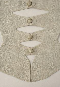 Embroidered cotton stomacher (detail), British, ca. 1700.