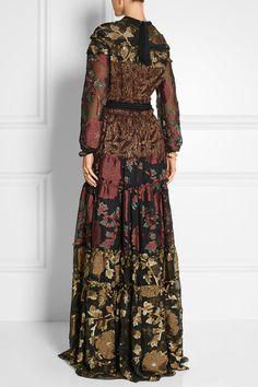 Lanvin | Paneled metallic fil coupé crepe and silk-blend chiffon maxi dress | NET-A-PORTER.COM