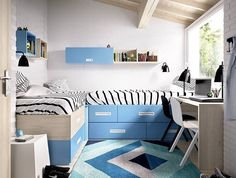 Boy's bedroom idea | Double beds and desk