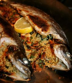 Baked Whole Trout Stuffed With Couscous