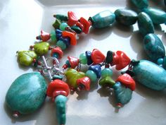 Natural Turquoise Nuggets and Glass Flowers Necklace by MMhandmade, $130.00