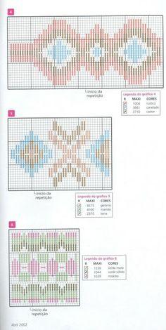 Ponto Reto - guardanapos - motivos geométricos - gráficos