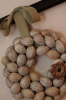 book pages egg wreath