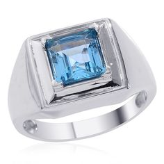 Liquidation Channel | Electric Blue Topaz Men's Ring in Platinum Overlay Sterling Silver (Nickel Free)