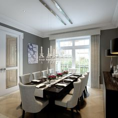 Wimbledon Hill Park, London - transitional - Dining Room - London - CID Interieur I absolutely love the light fixture above the table Luxury Dining Room, Dining Room Sets, Dining Room Design, Dining Room Table, Dining Chairs, Interiores Design, Fine Dining, Room London, Hill Park