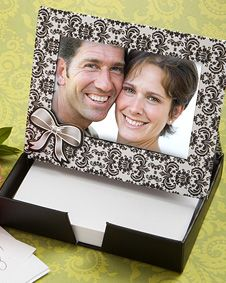 black and white damask place card photo  frame and memo paper sets