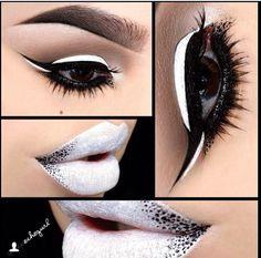 Love the eyeshadow, not big on the white lips. Goth Makeup, Makeup Inspo, Makeup Art, Makeup Inspiration, Makeup Tips, Eyeshadow Makeup, Lip Makeup, Beauty Makeup, Golden Eyeshadow