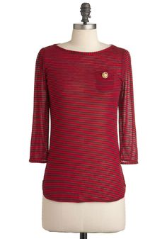 Row Row Romance Top - Red, Blue, Stripes, Buttons, Casual, Nautical, 3/4 Sleeve, Mid-length