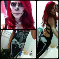 Skeleton costume for Halloween! Skull makeup red hair