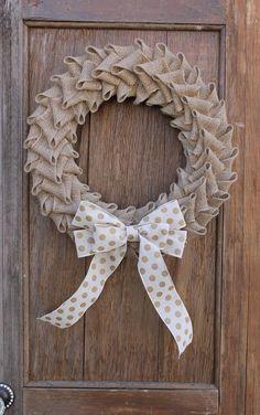 New Front Door Wreaths Diy Polka Dots Ideas Diy Fall Wreath, Fall Wreaths, Door Wreaths, Christmas Wreaths, Flower Wreaths, Burlap Christmas, Christmas Crafts, Burlap Flowers, Burlap Bows