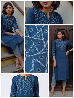 Okhai 'Melody' Embroidered Cotton Kurta A calming blue cotton airy fabric crafted into a smart long kurta with pockets. Intricate hand embroidery and mirror work on the neck and sl Embroidery On Kurtis, Hand Embroidery Dress, Kurti Embroidery Design, Embroidery Neck Designs, Embroidery On Clothes, Embroidered Clothes, Embroidery Fashion, Embroidered Kurti, Neck Designs For Suits