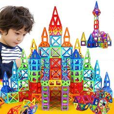 Baru 164 pcs Mini Magnetic Designer Konstruksi Set Model & Bangunan Mainan Plastik Blok Magnet Pendidikan Untuk Anak-anak Hadiah