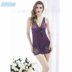 Women Nightgown Nightskirt Sexy Lingerie Summer Dress Bow Night Skirt Thong  Set Deep V Lace Gown Unicornio Nightwear Sleepwear be7b53f6a