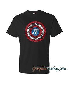 Discover Captain Pi Superhero Shield Tee Shirt