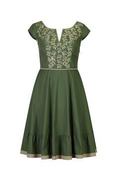 eShakti Women's Leafy vine notch neck dress XS-0 Regular Loden green/khaki\ amazon $80