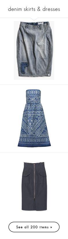 """denim skirts & dresses"" by bonadea007 ❤ liked on Polyvore featuring oneteaspoon, dresses, strapless floral print dress, pocket dress, botanical dress, blue floral dress, floral pattern dress, skirts, 10 crosby derek lam and knee length denim skirt"