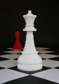 Chess Pieces (aka, Breaking Dawn cover) — Nathan Sawaya — The Art of the Brick Chess Pieces, Game Pieces, Legos, Lego Chess, Construction Lego, Chess Set Unique, Lego Sculptures, Lego Boards, Lego Club