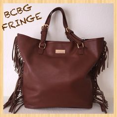 """BCBG PARIS Large Mocha Fringe Tote Shoulder bag or tote with adjustable handles. Vegan bag with zippered compartment on back of bag with fun embellished fringes. This beauty is approx. 14 1/2"""" Tall and 17"""" Wide. BCBG Bags"""