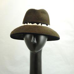 Big Hat Fedora Hat for Women in Dark Brown Beaver Fur Felt
