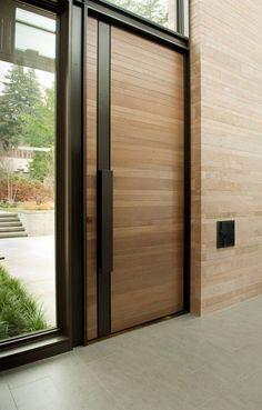 50 Latest Main Door Designs For Your Villa - Best Outdoor ideas Contemporary Front Doors, Modern Front Door, Double Front Doors, Wood Front Doors, Wooden Doors, Modern Entry, Wooden Front Door Design, Main Door Design, External Front Doors
