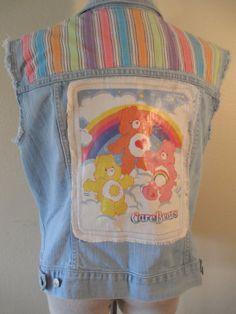Cut off jean vest OOAK fun biker chick Size XL Old Navy Care Bears Rainbow