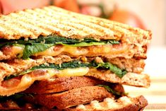 Spinach, Tomato and Gouda Panini with Apple Butternut Squash Spread. Ok, so there is some time involved here, but it's worth it