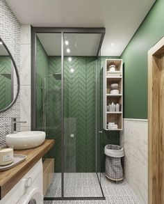 Fascinating Bathroom Design Decor Ideas (refresh your mind.) - Bong Pret : The plan of contemporary bedroom produces a tranquility which makes the feeling even more prevalent. It can be quite a very authentic. All the designs. Bathroom Design Small, Bathroom Interior Design, Modern Bathroom, Bathroom Green, Master Bathroom, White Bathroom, Tranquil Bathroom, Small Bathroom Ideas On A Budget, Bathroom Colours