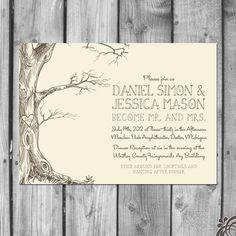 Love Tree Wedding Invitation Set by ChristinaElizabethD on Etsy, $2.50