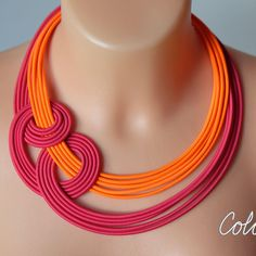 Boho chic neon statement knot necklace, made from neon orange and pink textile ropes, COLORIKA. Back to my main site to all categories : https://www.etsy.com/shop/COLORIKA ❤ SIZE: Textile part is long 42 cm and chain for customizable lenght. If you need custom lenght , longer or shortert