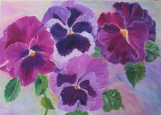 Let's pick some Pansies. von Lizzy and Boo auf Etsy Oil Painting Flowers, Watercolor Flowers, Art Floral, Modern Wall Decor, Art Clipart, All Things Purple, Hanging Wall Art, Pansies, Art Oil