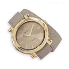 Grey Leather Fashion Wrap Watch