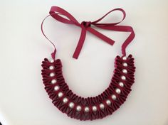 Grosgrain folded ribbon and pearl necklace by MagdaCrafts on Etsy, £21.00