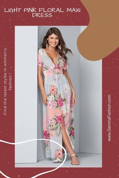 💥 LIGHT PINK FLORAL MAXI DRESS Serve sunset vibes at your next outing with this smocked waist maxi. Covered in botanical, island-inspired print atop a pastel gradient backdrop, this alluring slit front V-neck style not only grabs attention, but holds on to it! #Fashion #Fashionista #outfit #womenswear #womensclothing #clothing #clothes #shoppingonline #chic #apparel #shopping #dresstoimpress Pastel Gradient, Pink Floral Maxi Dress, Lovely Dresses, Dress To Impress, Wrap Dress, Women Wear, Gowns, Clothes For Women, Chic