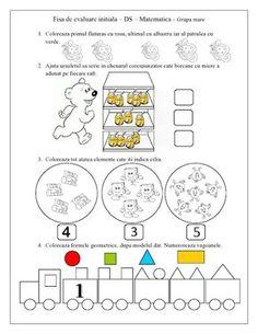 FISA de evaluare initiala - Grupa mare - DS - Matematica | Fise de lucru - gradinita Insect Activities, Motor Skills Activities, Preschool Activities, Letter Tracing Worksheets, Kids Math Worksheets, Kids Poems, Numbers Preschool, Math 2, Math For Kids