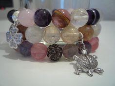 Set 3 pulseras de Fluorita,Cuarzo rosa,Agata musgo cafe,Cristal de roca,Amatista y Agata lila de Lenajoyas en Etsy
