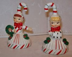 Cute vintage Christmas candy cane girl bell figurines. #vintage #Christmas #decorations